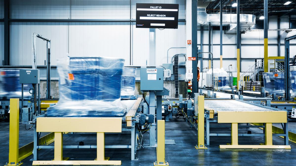 Pallettenlager mit Warehouse Management Software viadat bei Leclerc, Lebensmittelindustrie