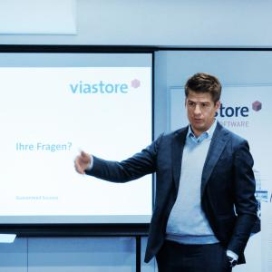 viastore CEO Philipp Hahn-Woernle informs about the year 2019 at the press event