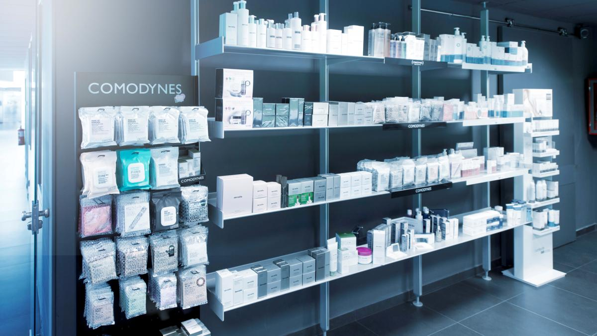 roduct range from viastore customer Dermofarm in a pharmacy, Pharmaceutical Industry