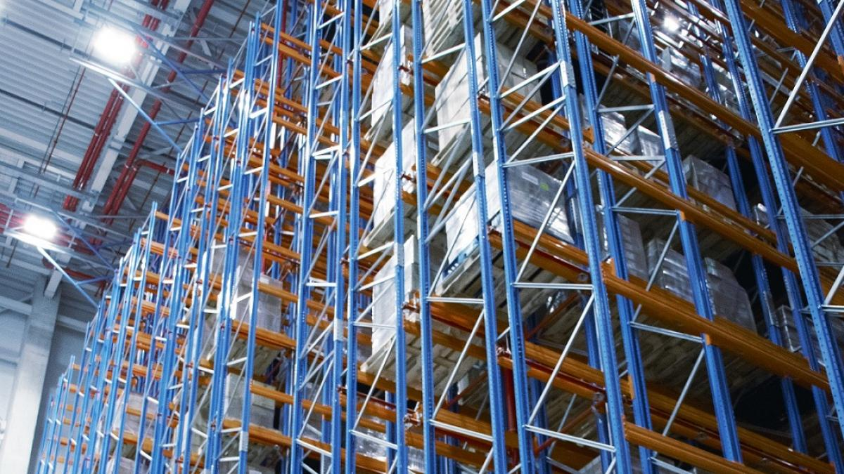 Multi-aisle pallet warehouse, interior view of viastore high-bay warehouse at VARTA in Ellwangen