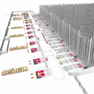 3D animation of viastore's automated high-bay warehouse for Maisons du Monde
