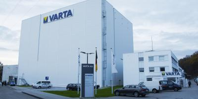 Exterior view of the viastore high-bay warehouse from VARTA Microbattery in Ellwangen